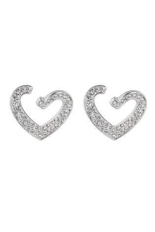 Lipsy Jewellery Silver Plated Crystal Front To Back Heart Drop Earrings
