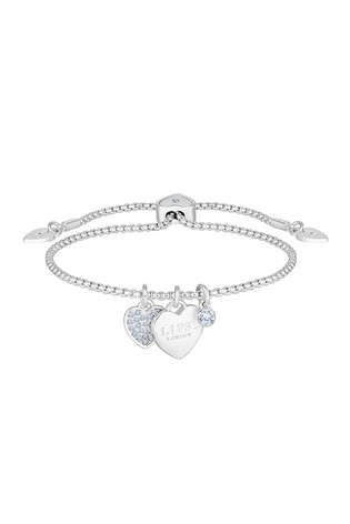 Lipsy Jewellery Silver Plated Crystal Pave Heart Toggle Bracelet