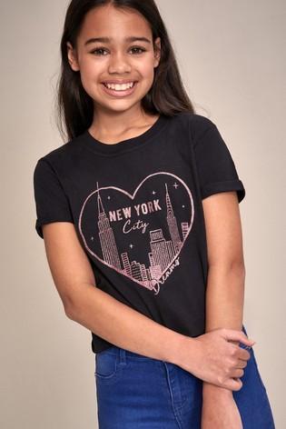 Lipsy Black New York Foil Print Tee