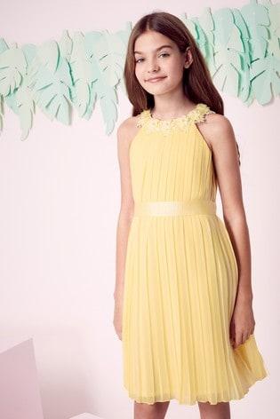 Lipsy Girl Yellow Pleated Chiffon Occasion Dress