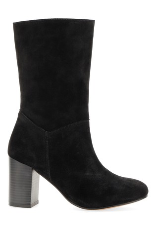 Simply Be Black Extra Wide Fit Suede Slouch Block Heel Calf Boot