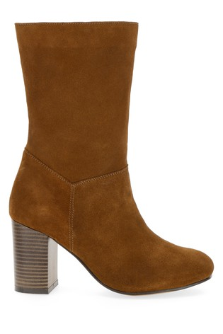 Simply Be Camel Extra Wide Fit Suede Slouch Block Heel Calf Boot