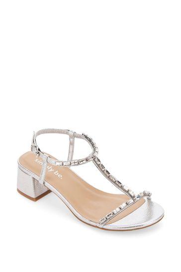 Simply Be Silver Wide Fit T-Bar Diamante Low Block Heel Sandal