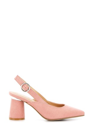 Simply Be Pink Extra Wide Fit Slingback Almond Toe Court Shoe