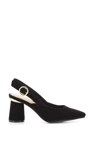 Simply Be Black Extra Wide Fit Slingback Almond Toe Court Shoe