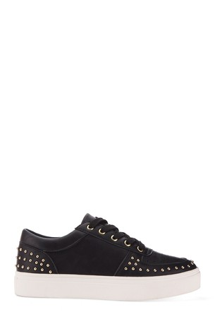 Simply Be Black Wide Fit Studded Lace Up Trainer