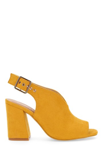 Simply Be Yellow Wide Fit V Cut Slingback Shoeboots