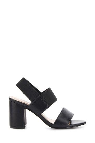 Simply Be Black Extra Wide Fit Elastic Y Bar Block Heel Sandal