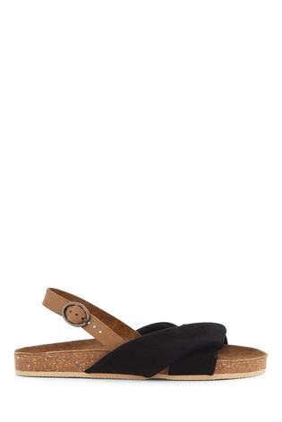 Simply Be Wide Fit Twist Front Leather Footbed Sandals