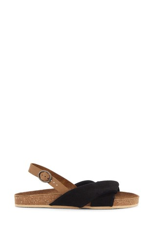 Simply Be Black Extra Wide Fit Twist Front Leather Footbed Sandal