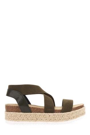 Simply Be Khaki Extra Wide Fit Elastic Strap Upper Flatform Sandals