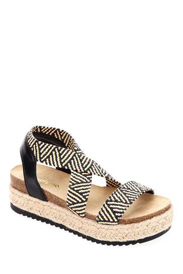 Simply Be Black Wide Fit Elastic Strap Upper Flatform Sandals