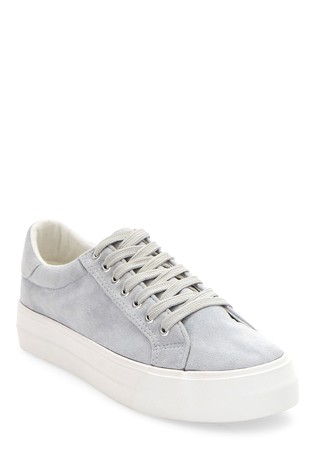 Simply Be Grey Extra Wide Fit Plain Pastel Micro Suede Uppers Flatform Trainers