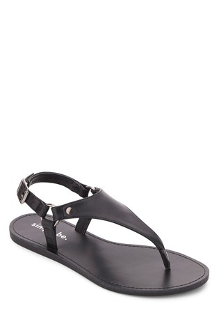 Simply Be Black Wide Fit Harness Toe Post Sandals