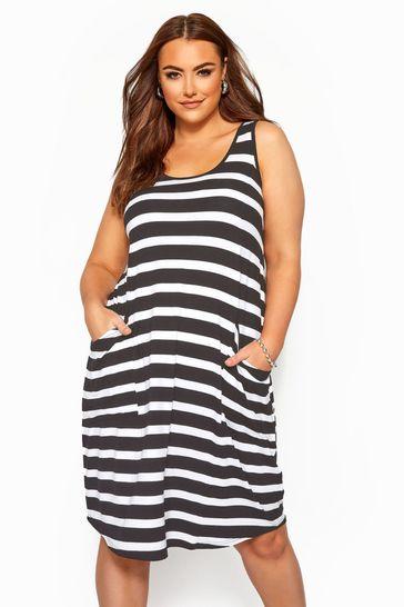 Yours Curve Monochrome Sleeveless Drape Pocket Dress