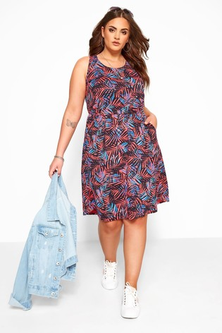Yours Pink Curve Tropical Bow Back Dress