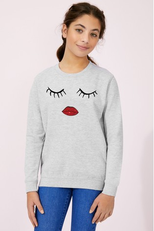 Personalised Lipsy Eyes Closed Girls Sweatshirt by Instajunction