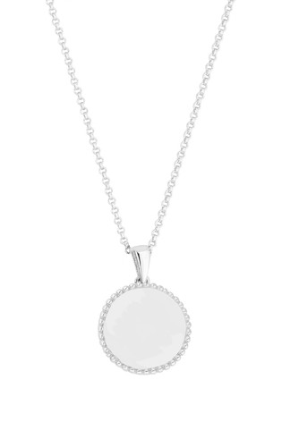 Personalised Sterling Silver Beaded Edge Disc Pendant by Simply Silver