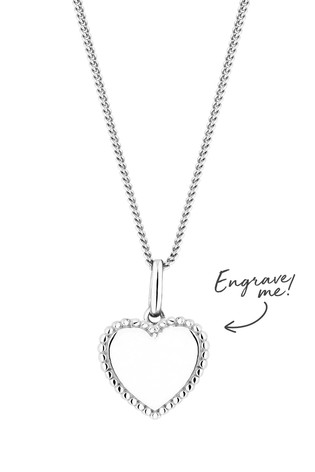 Personalised Sterling Silver Beaded Edge Heart Pendant by Simply Silver