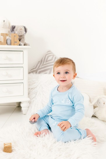 Personalised Pale Blue Two Piece Loungesuit By Forever Sewing