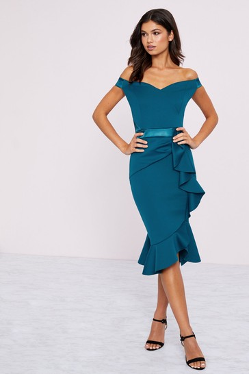 Lipsy Teal Ruffle Bardot Bodycon Dress
