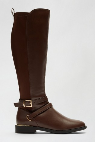 Dorothy Perkins Chocolate Dorothy Perkins Keeper Cross Strap Riding Boot