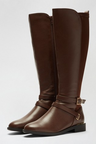 Dorothy Perkins Chocolate Dorothy Perkins Keeper Cross Strap Riding Boot