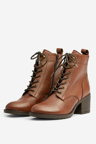 Dorothy Perkins Tan Lace Up Heeled Ankle Boot