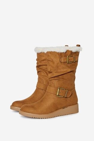 Dorothy Perkins Tan Wedged Buckle Calf Boot