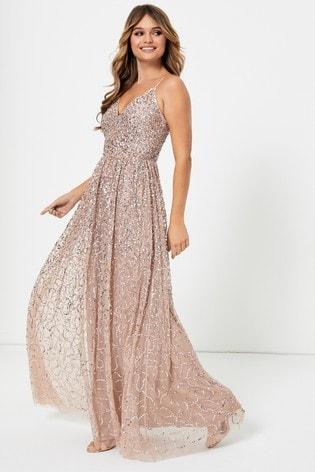 Maya Nude Regular All Over Sequin Cami Maxi Dress