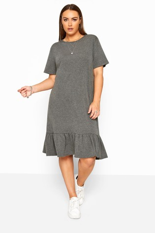 Yours Limited Charcoal Collection Curve Marl Frill Hem Dress