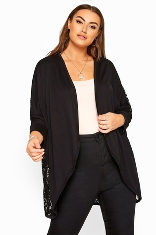 Yours London Curve Lace Back Cocoon Cardigan