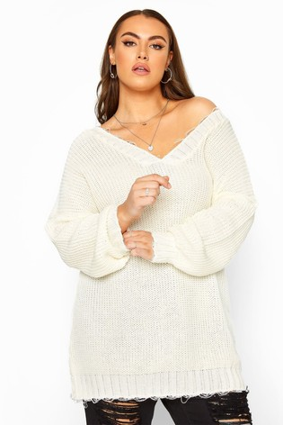 Yours White Curve Distressed Oversized Knitted Jumper