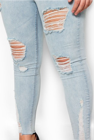 Yours Curve Ripped Raw Hem Jegging