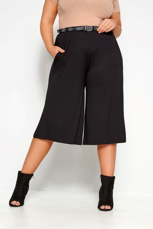 Yours Black Curve Jersey Culottes