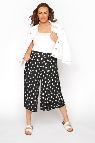 Yours Floral Black Curve Jersey Culottes