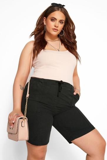 Yours Black Curve Cool Cotton Shorts