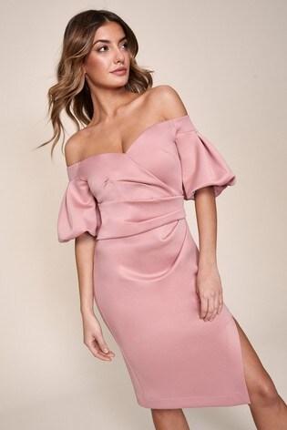 Lipsy Nude Puff Sleeve Bardot Dress