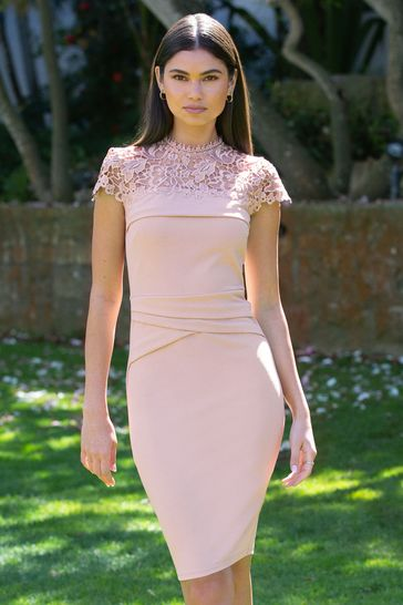 Lipsy Nude Petite Lace Detail Bodycon Dress