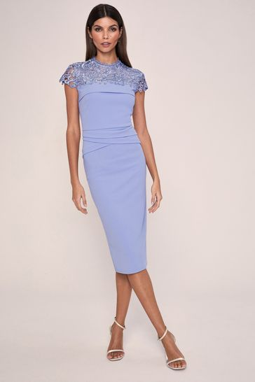 Lipsy Blue Lace Pleated Bodycon Dress