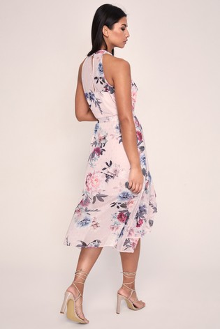 Lipsy Nude Printed Halter Fit & Flare Dress