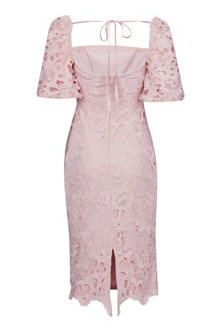 Lipsy Nude Lace Square Neck Puff Sleeve Dress