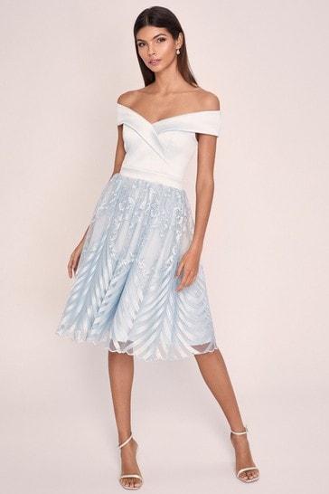 Lipsy Dusky Blue Embroidered Skirt Bardot Prom Dress