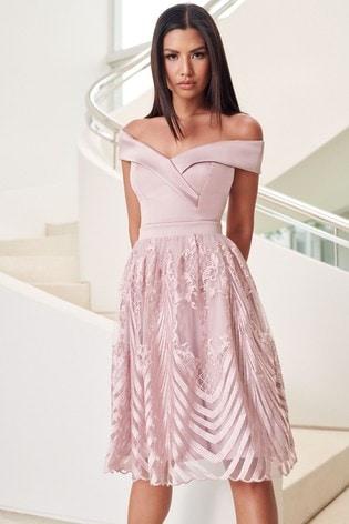 Lipsy Nude Embroidered Skirt Bardot Prom Dress