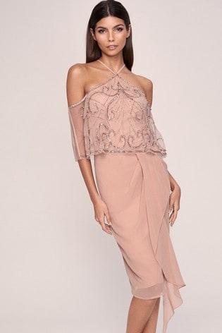 Lipsy Nude Cold Shoulder Hand Embellished Dress
