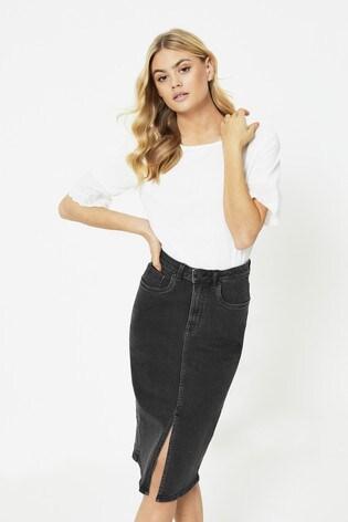 JDY Denim Split Front Midi Skirt