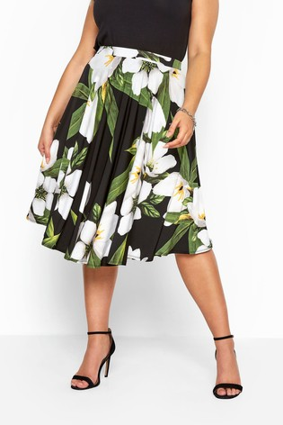Yours Curve Floral Slinky Jersey Skater Skirt