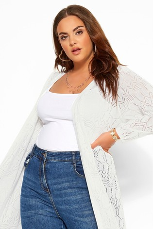 Yours Curve White Midi Pointelle Stitch Cardigan