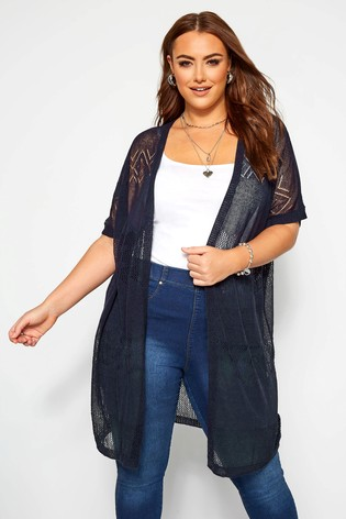 Yours Navy Curve Lace Look Cardigan