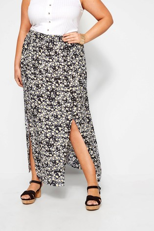 Yours Curve Daisy Side Split Maxi Skirt